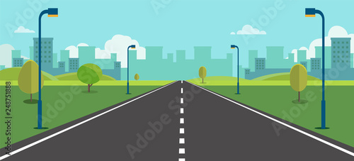 Fototapeta Cityscape scene with road , trees and sky background vector illustration.Main street to town concept.Urban scene with nature background.Beautiful nature landscape. obraz na płótnie