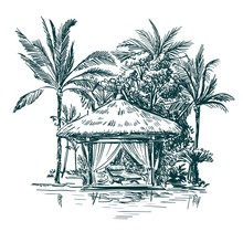 Gazebo With Thatched Roofs Among The Palm Trees