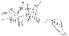 Hand Drawing Business Concept Sketch Of Happy Jumping People