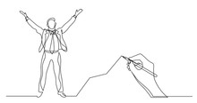 Hand Drawing Business Concept Sketch Of Happy Man With Rising Chart
