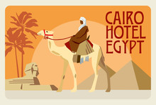 Retro Postcard Egypt. A Rider On A Camel, In The Background Of A Pyramid, A Sphinx And Palms. Vector Graphics