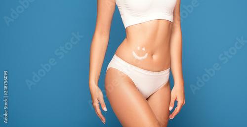 Woman take care of skin.