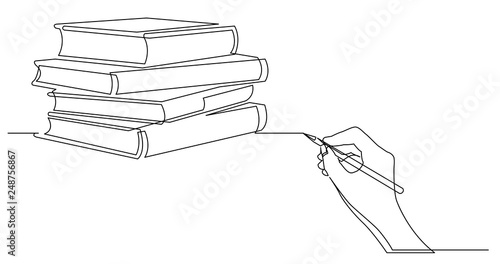 Fotografie, Obraz hand drawing business concept sketch of books pile