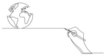 Hand Drawing Business Concept Sketch Of Planet Earth Globe
