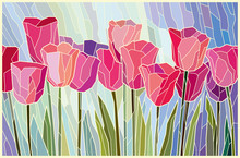 Stained Glass Painting Pink Tulips From Angular Pieces. Vector Graphics