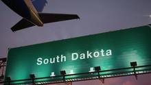 Airplane Take Off South Dakota During A Wonderful Sunset