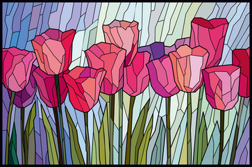 Fototapeta Popularne Stained glass pink tulips from angular pieces. Vector graphics
