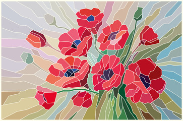 NaklejkaStained glass scarlet poppies on a beige background. Vector graphics