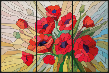 NaklejkaStained glass scarlet poppies from angular pieces. Vector graphics