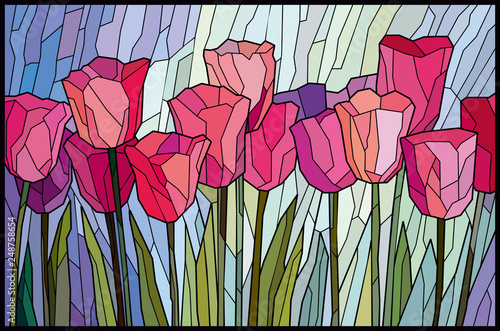 Cuadros en Lienzo Stained glass pink tulips from angular pieces. Vector graphics