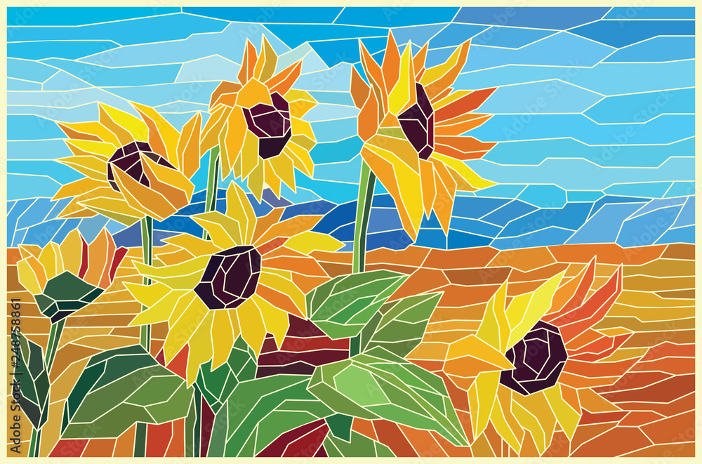 Fototapeta Stained glass sunflowers in the field. Vector graphics