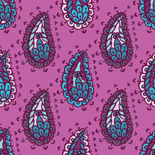 Hand Drawn Paisley Damask Illustration. Seamless Vector Pattern All Over Print With Traditional Arabic Indian Style Foulard Drop Motif. Decorative Stylized Shawl Or Retro Bandana Design, Home Decor.