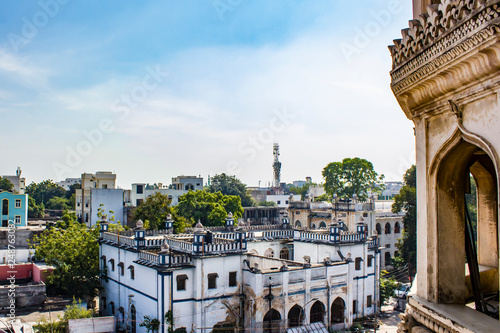 View of the Old City by the Ancient Charminar Mosque in
