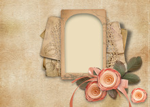 Vintage Valentine Card On Shabby Background With Roses