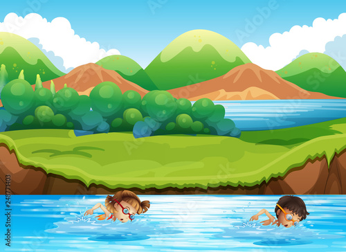 Boy and girl swimming in nature