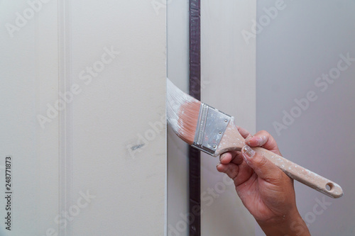 Fotomural  Painting of wooden door, workers hand and brush