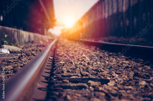 Spoed Foto op Canvas Spoorlijn Low angle (ant efeview) or perspective of the Railroad tracks