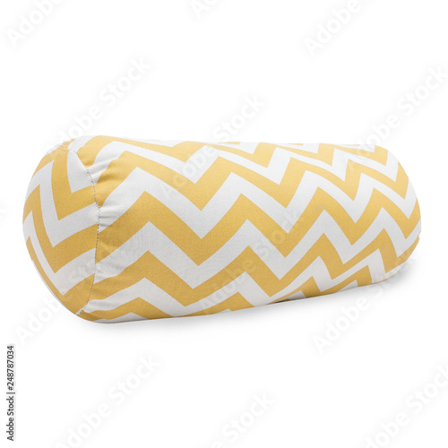 Yellow Chevron Bolster Pillow Isolated on White Background Wallpaper Mural