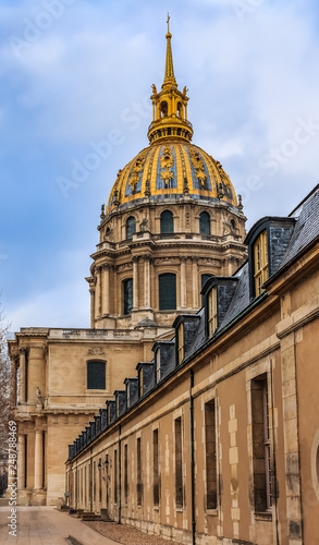 Saint Louis Cathedral and Les Invalides museum complex in Paris, France is the burial site for many of France's war heroes, also housing the tomb of the emperor Napoleon Bonaparte