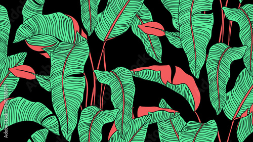 Tropical plants seamless pattern, Bird of paradise on black background