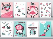 Set Of Valentine's Day Card On Retro Pattern Design,love,animal,minimal,ostrich,cute,Vector Illustrations