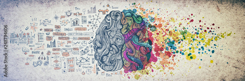Obraz Left right human brain concept, textured illustration. Creative left and right part of human brain, emotial and logic parts concept with social and business doodle illustration of left side, and art - fototapety do salonu