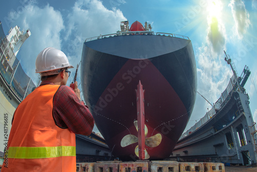 Fototapeta supervisor, foreman, inspector, surveyor takes final inspection of the cleaning,