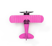 Pink Metal Toy Plane Isolated On White