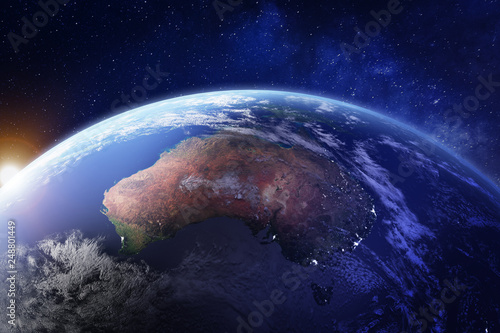 Canvas Print Australia from space at night with city lights of Sydney, Melbourne and Brisbane