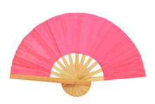 Red Oriental Hand Fan Isolated...