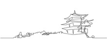 Japanese Buddhist Temple Continuous One Line Vector Drawing