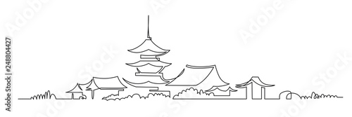 Photo Japanese Buddhist temple continuous one line vector drawing