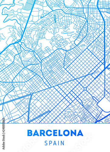 Obraz na plátně city map of Barcelona with well organized separated layers.