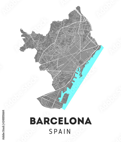 Canvas Print city map of Barcelona with well organized separated layers.