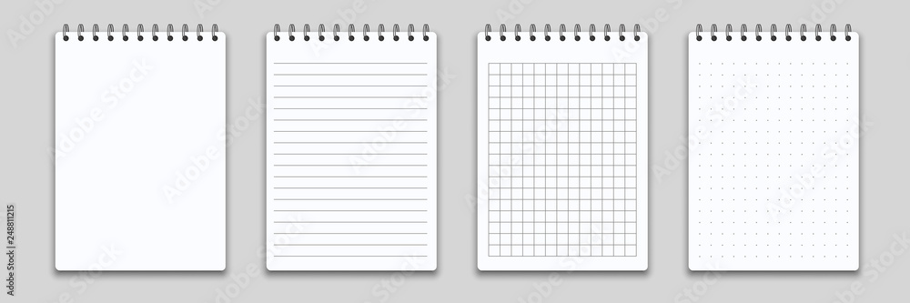 Fototapeta Notebook or memo notepad with binder. Vector note pad or diary with lined and squared paper page template