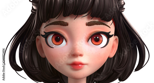 3d Cartoon Character Of A Brunette Girl With Big Brown Eyes Beautiful Woman Face Close Up