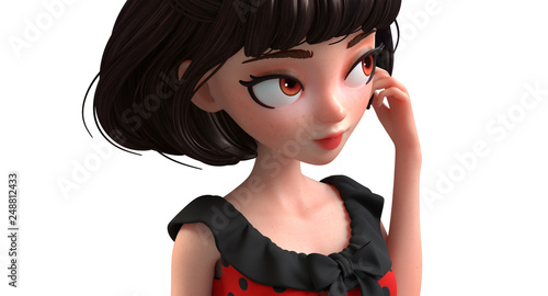 3d Cartoon Character Of A Brunette Retro Girl With Big Brown Eyes Beautiful Woman Face Close