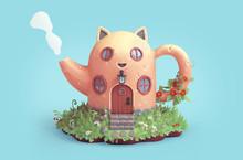 Yellow Cartoon Cat House In Sh...
