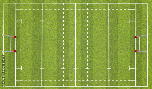 Fototapeta  Rugby pitch with lines and goals. 3D Rendering