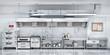 canvas print picture - Industrial kitchen. Restaurant kitchen. 3d illustration