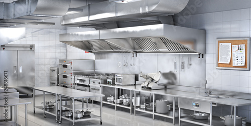 Spoed Foto op Canvas Restaurant Industrial kitchen. Restaurant kitchen. 3d illustration