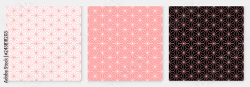 fototapeta na szkło Pattern seamless cube and triangle abstract background pink luxury color geometric vector.