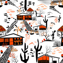 Seamless African Landscape Folk Traditional Pattern