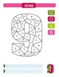 Coloring printable worksheet for kindergarten and preschool. Learning numbers and simple shapes.