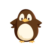 Penguin Animal With Wings And Bird With Beak Vector. Happy Winter Character Standing With Hands On Sides, Cartoon From Antarctic Area Isolated Seabird