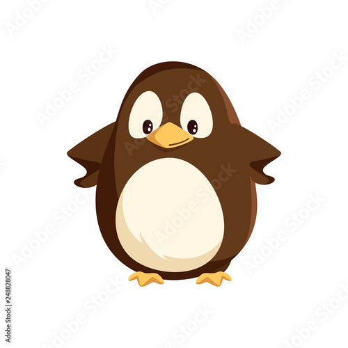 Penguin animal with wings and bird with beak vector Fototapeta