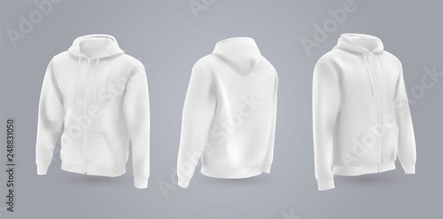 Fotografía  White men's hooded sweatshirt mockup in front, back and side view, isolated on a gray background