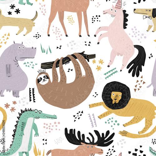 Obraz Lazy animals hand drawn color seamless pattern - fototapety do salonu