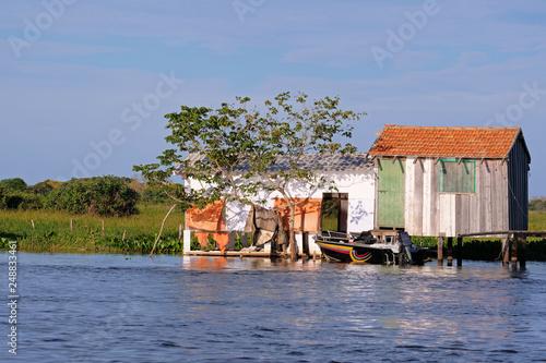 Fotografija  House on stilts at the Rio Paraguay river in the Pantanal, near Corumba, Mato Gr