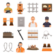 Prison Color Flat Icons Set For Web And Mobile Design